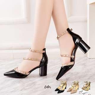 Calvin K Pointed Blok Heels
