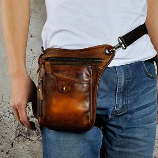 Cow leather Cowhide authentic red yellow khaki brown side pouch bag sling waist side leg hang fanny pack