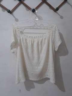 H&M Cream Knit Sabrina Top