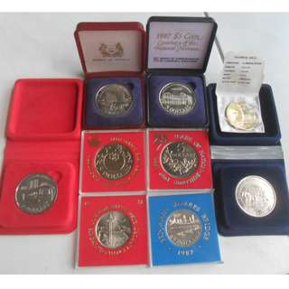 1981-1990 Singapore Unc $5 Commemorative Coin.(Lot of 9 pcs)