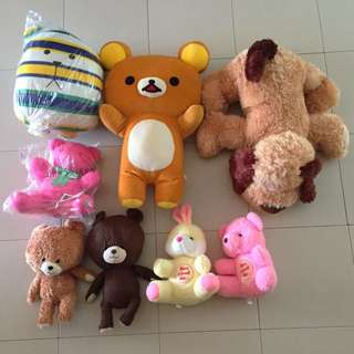 soft toys (bears, rabbit, dog, rilakkuma)