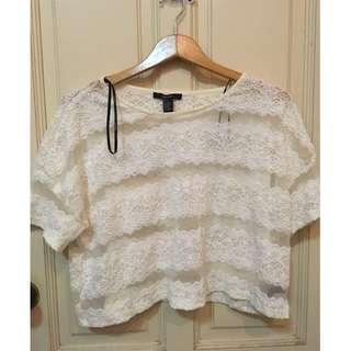 White Crochet Mesh Panel Blouse