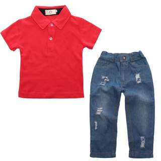 Boys T-shirt short-sleeved cotton + pants