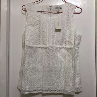 Forever 21 white lace top 白色通花背心