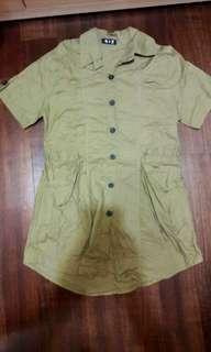 🚚 芥黃 軍綠色襯衫形洋裝