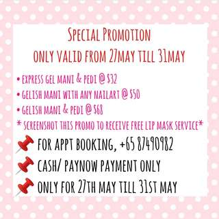 Special 1 week offer! Affordable gelish service