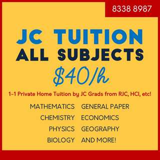 JC Tuition - H1/H2 for All Subjects including Maths, Chemistry, Econs, GP, Physics, Biology