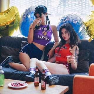 🚚 💟《預》🌀實拍🌀🔆促銷優惠款👍 歐美街頭 爵士公牛LA湖人熱火嘻哈緊身性感超短版高腰俏皮背心21~36