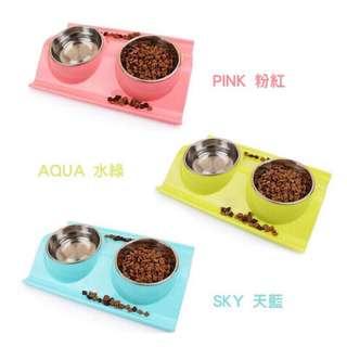 🚚 (全新)W型不鏽鋼兩用飼料碗 粉色