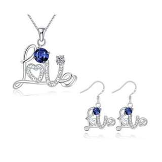 SILVER PLATED NECKLACE EARRINGS JEWELRY SETS (BLUE)