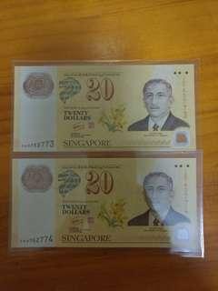 Singapore Yusof Ishak $20/-  Running Number 0AD762773/74