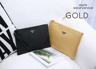 Prada Clutch Gold Color 2 in 1