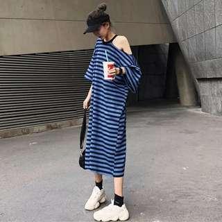 韓國ulzzang夏裝TAB新款單漏肩條紋長T桖寬松短袖連衣裙中長款女