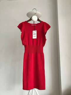 New Zara slim tight skinny red dress