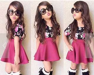 Girls black floral short-sleeved T-shirt + purple skirt two suits