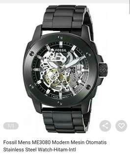 FOSSIL MENS ME3080 MODERN MACHINE AUTOMATIC STAINLESS STEEL WATCH BLACK