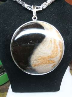 Fossill teras kelor yin yang necklace