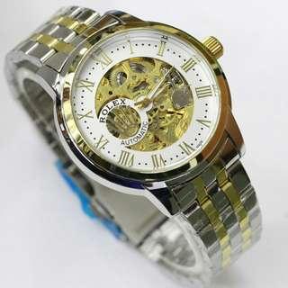 Jam tangan pria/wanita rolex skeleton + box