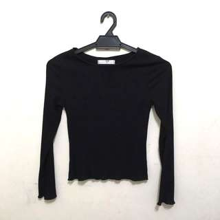 🆕 Black Ribbed Fit Long Sleeve Top