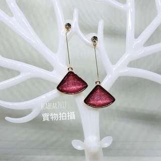 brand new 垂吊耳環 韓國 閃石 水晶 扇形 Hanging earrings