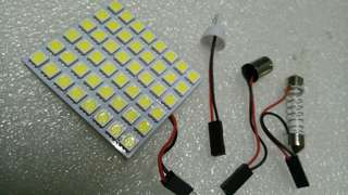 Ultra Bright White Car LED. 48LEDs SMD type 5050. Extremely Bright! Free Universal Adapters.