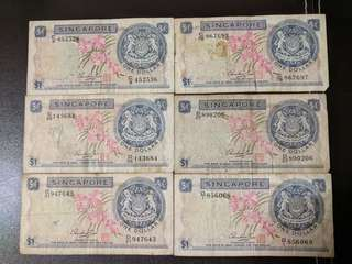 Orchid series $1 one dollar singapore old notes (sold as set only)