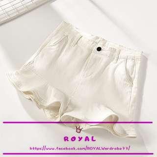 荷葉邊白色闊腿短褲/白色短褲/休閒褲 Q501
