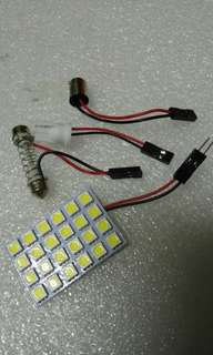 Ultra Bright White Car LED. 24LEDs SMD type 5050. Extremely Bright! Free Universal Adapters.