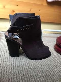 Faux Suede Brown Heels