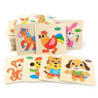 💥10片裝💥木製拼圖〰早教益智玩具〰