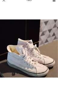 Vans high top skate shoes white womens 8