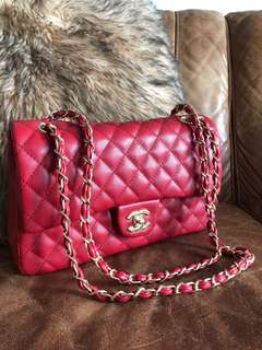 Chanel Red Medium Double Flap Bag