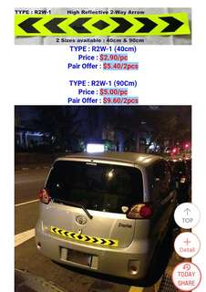 Reflective Tape for Vehicles. Bright Luminous Yellow with Black Arrows. Safety first! Only available for 90cm length.