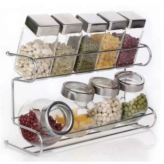 Spice rack 2 tier  with cylindrical & round jar