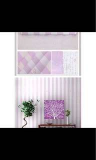 Wallpapper Stiker Stripe & Star Purple 45cm x 10 m