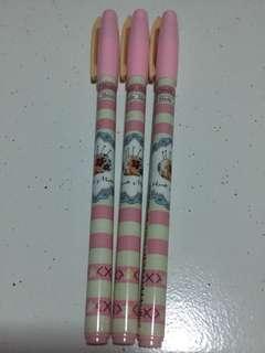 Pink Stripes 0.38mm Black Gel Ink Pen