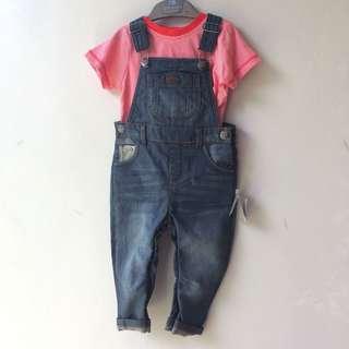 MOTHERCARE Denim Overall with t-shirt size 12-18 mo baju kodok jeans anak