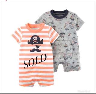 *12M* BN Carter's Snap Up Cotton Romper For Baby Boy