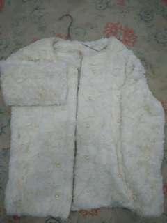 Jaket Bulu Lembut warna putih