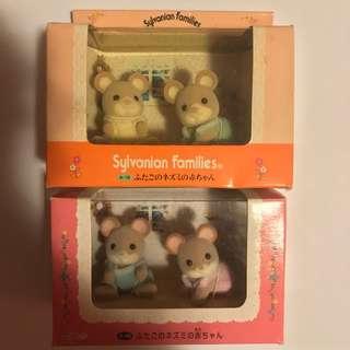 🚚 森林家族 早期絕版 日版 夢幻逸品  早期絕版老物 值得收藏 距今20年前的稀有收藏 全新   (上)1996年 奶油鼠 白耳鼠 粉耳鼠 樺木鼠 寶寶雙胞胎 組合