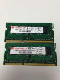 Strontium 8gb DDR3 1333mhz Laptop Ram (4gb x 2)