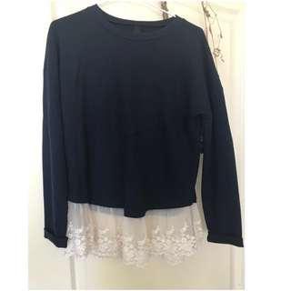🚚 【#一百元好物】深藍色蕾絲擺裙上衣