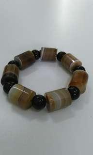 Natural Crystal bracelet天然玛瑙黑耀石手串