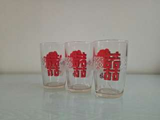 60's Happy Drinks Glass Height 11cm Perfect Condition 3pcs $18