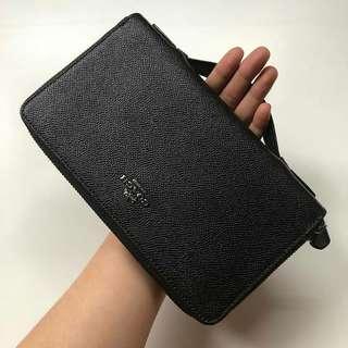 Coachcrossgrain double zip travel wallet Size : 22,5cm x 13cm