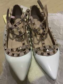 Valentino Inspired White Caged Flats