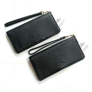 Coach Pebbled Leather Slim Wallet(Black) Sz 18x9cm