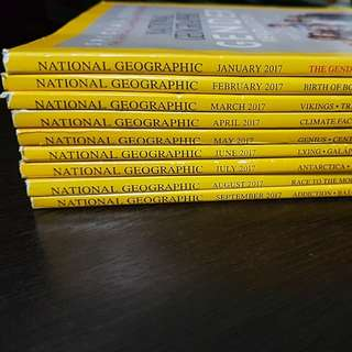 National Geographic- Jan to Sep 2017 + Free 1 book National Geographic Traveler