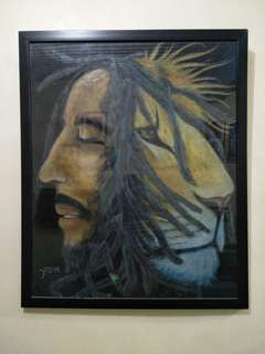 bobmarley and lion pastel paint 66cmx54cm
