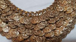 F21 Gold coin statement necklace.